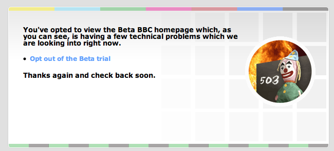 BBC - Outage page