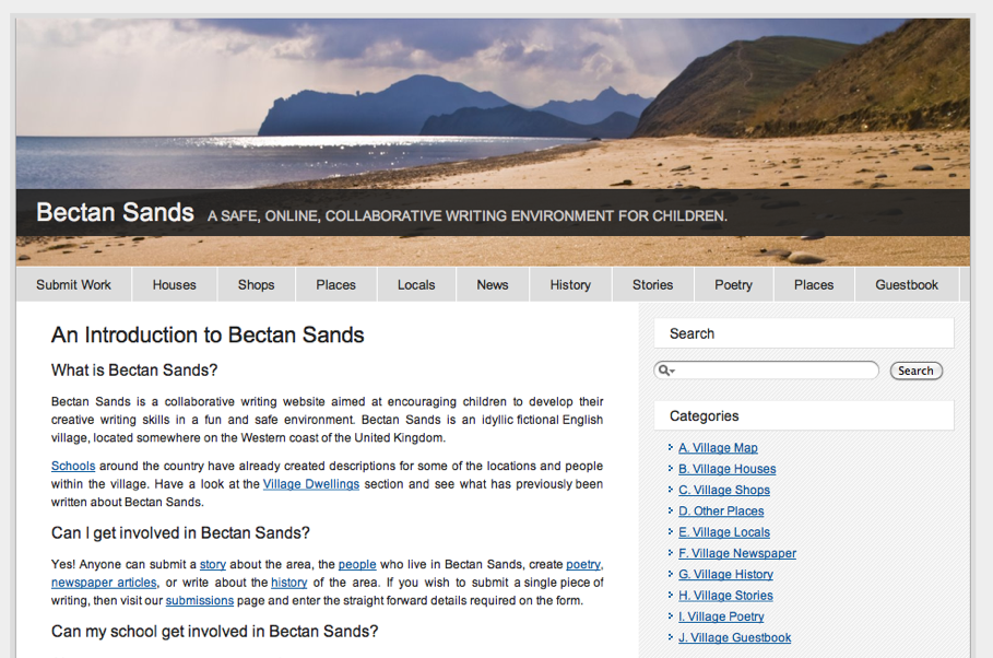 The redesigned Bectan Sands website